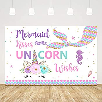 Ticuenicoa 5x3ft Mermaid Kisses Unicorn Wishes Backdrop Mermaid Tail Unicorn Birthday Party Photography Background Magical Unicorn Baby Shower Party Decoration Cake Table Banner Photo Booth Props