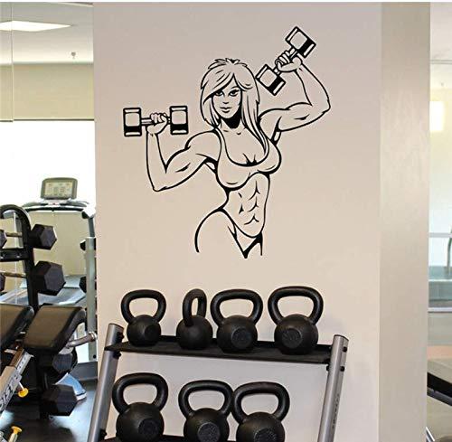 Wangyy Weibliche Muskeln Wandaufkleber Fitness Gym Sport Vinyl Aufkleber Home Wandkunst Dekor Ideen Innen Abnehmbare Design 58X65 Cm