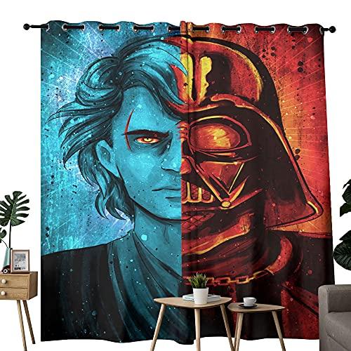 Cortina opaca térmica de gran ancho con aislamiento térmico de Star Wars Darth Vader máscara de arte contemporáneo, paneles de cortina para dormitorio y sala de estar de 84 x 63 pulgadas