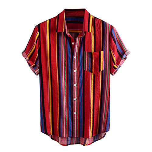 Xniral Herren Hawaii-Hemd Blumen Beiläufig Aloha Freizeit Hemd Button Down Revers Streifen Graphic Shirt Sommer T-Shirt(e-rot,XL)