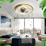YCWDCS Silencioso Ventilador Techo con Luz Moderna Lampara Ventilador Techo Regulable Mando A Distancia Ventilador Techo 3 Velocidades Luz Ventilador Techo con Mando Luces Led,Oro,50cm