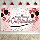 40th Happy Birthday Party Decoration, Rose Gold Women 40th Banner Anniversary Sign Backdrop Background Photo Booth Poster for 40th Birthday Party Supplies Favors, 72.8 x 43.3 inch