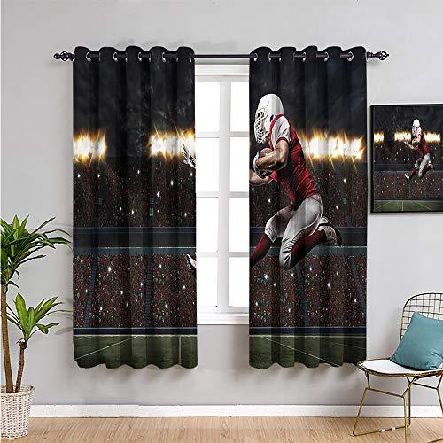 Pcglvie Cortinas de privacidad impresas para habitación de niños, cortinas de 160 cm de largo, uniformes de jugador de fútbol americano, cortina de café, 163 cm de ancho x 63 cm de largo