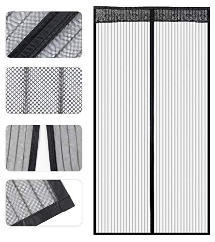Store2508 Polyester Mesh Mosquito Screen Curtain with Magnets for Main Doors/Balcony Doors/Kitchen Doors (110 * 210 Cms,Black)