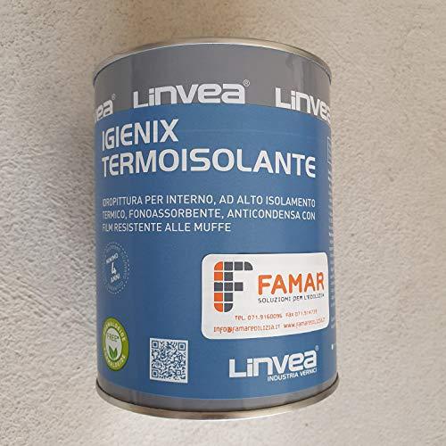 Linvea Igienix Termoisolante Bianco 1 Lt. Idropittura Per Interni Ad Alto Isolamento Termico, Fonoassorbente, Anticondensa, Resistente Alle Muffe