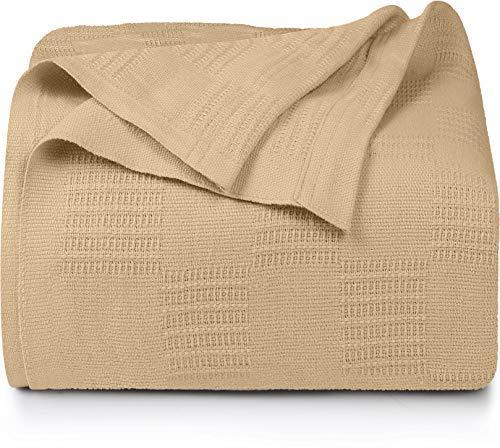 Utopia Bedding Premium Cotton Blanket Queen Beige...