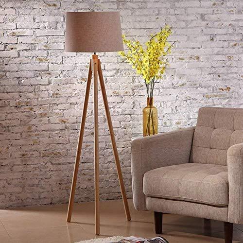 BJLWTQ Lámpara de pie, Piso de Madera Maciza Nordic Lights Sencilla y Elegante de pie luminarias de Luz Salón lámpara de cabecera incluidos Luz para Leer,