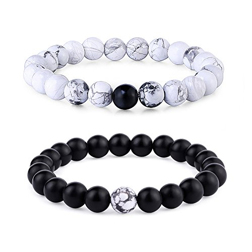 Byson 2 Pcs Couple Distance Relationship Bracelets Black Matte Agate & White Howlite Energy Beads Stone Ying Yang Balance Bracelet Banglet for Lovers Touch Bracelets Long Distance Relationship