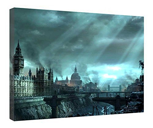 iRocket Canvas Prints Wall Art - Hellgate, London - Wood Board Background Stretched Canvas Wrap Ready To Hang For Home And Office Decoration - 20' X 14'