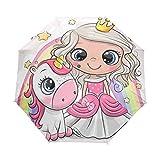 Paraguas automático plegable lindo de dibujos animados niña y unicornio compacto viaje Sun paraguas sombrilla a prueba de viento, impermeable con revestimiento negro anti-UV