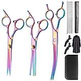 Juego de tijeras profesionales de peluquería – Tijeras de corte de pelo prémium 10 unidades tijeras de dientes y tijeras de peluquería afiladas para hombre y mujer para hombres, mujeres