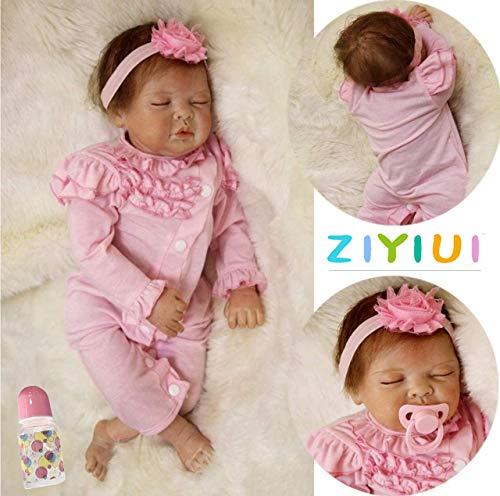 ZIYIUI 22 Zoll Reborn Babys Babypuppen Mädchen weichkörper Realistische Kleinkind Weiche Reborn Baby Dolls Kind Geschenke Handgemacht Spielzeug 55cm Xmas Gifts(Close Eyes)