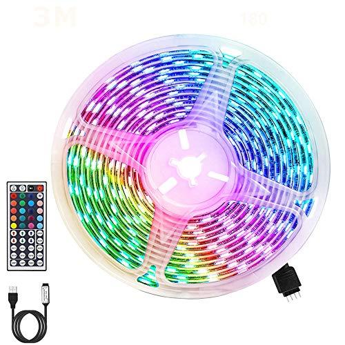 Tiras LED RGB 3m, USB Tiras LED 180 LEDs 5050 Tira LED Exterior con 20 Colores/ 6 Modos/Impermeable IP65/ Control Remoto de 44 Botones para TV, Techo, Jardín, Casa, Bar, Fiesta, Navidad, Bodas