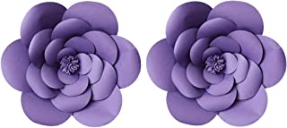 LG-Free 2pcs 12inch Paper Flower Backdrop Decoration Party Paper Flower Wedding Rose Flower Wall Backdrop DIY Paper Handmade Craft for Nursey,Baby Shower,Birthday,Home Decor (12inch, Purple)