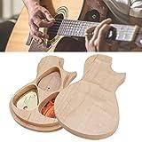Recensione Pick box per chitarra, scatola in legno massello di acero Supporto per plettro con 3 plettri Regali per chitarrista Accessori per strumenti musicali