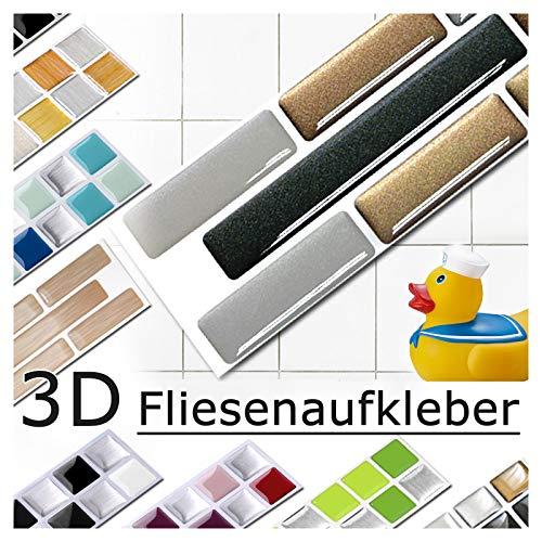 Grandora 5er Set 27,9 x 4,3 cm Fliesenaufkleber Kupfer dunkelgrau Silber Fliesensticker Design 7 Mosaik 3D-Effekt Aufkleber Küche Bad Fliesendekor selbstklebend W5288
