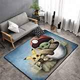 HijingTT Baby Yoda Star The Wars Pik-achu - Alfombra Antideslizante para Sala de Estar, Dormitorio,Alfombrillas de baño 60 x 39in(150cm X 100cm)