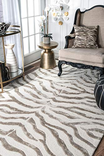nuLOOM Contemporary Zebra Print with Faux Silk Highlights Area Rugs, 2' x 3', Grey