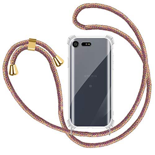 Funda Colgante con Cuerda para Colgar Sony Xperia X Compact - Carcasa Transparente de TPU Suave Silicona - con Cordon para Llevar en el Cuello [ Anti-Choque] [Anti-rasguños], Azúcar Arcoiris