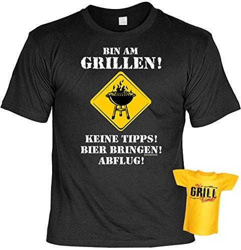 Spaß-Shirt inkl. Mini-Shirt/Geschenk-Set: Bin am Grillen! Keine Tipps! Bier bringen. - Grill-Shirt inkl. Flaschendeko