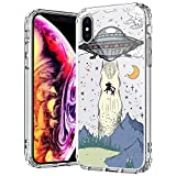 MOSNOVO Compatible for iPhone Xs Case & iPhone X Case, Clear Cool UFO Pattern Print Design Girl Women with Transparent TPU Bumper Protective Hard Back Case Cover for iPhone X/iPhone Xs