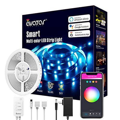 Avatar Controls Tira LED, 2.4G WiFi & Bluetooth Control, 12V 5M Luces LED Habitacion Controladas por APP, 5050 LED RGB 16 Milliones de Colores Luces LED, Modo Música Compatible con Alexa,