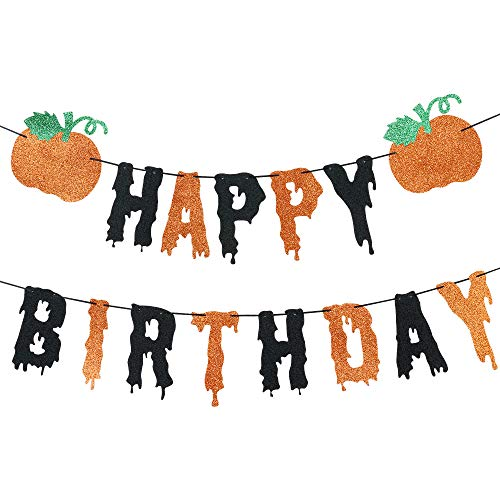 Pumpkin Happy Birthday Banner for Halloween Thanksgiving Fall Pumpkin Themed Birthday Party Decorations Supplies