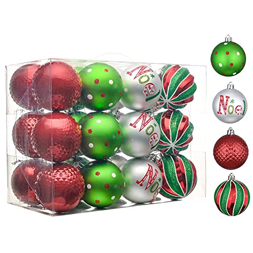 Valery Madelyn 24ct 70mm Joyful Red Green White Christmas Ball Ornaments, Shatterproof Christmas Tree Ornaments for Xmas Decoration