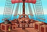 YongFoto 1,5x1m Fotohintergr& Vinyl Motiv: Piratenschiff Segel Ruderboxen Holzdeck blaues Meer nautischer Hintergr& Event Party Dekoration Porträt Fotostudio Requisiten