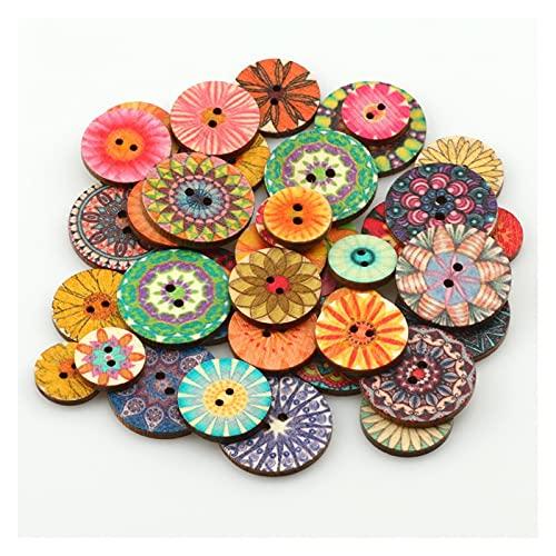Accesorios de vestir 50pcs Botón de costura pintado redondo de madera natural de 50 unids para la decoración de ropa Libro de recuerdos DIY Coser Coser ACCESORIOS para decoraciones artesanales