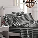 AiMay 6 Piece Bed Sheet Set Deep Pocket Luxury Rich Silk Satin Silky Super Soft Solid Color Stripes Hypoallergenic Reversible Stain-Resistant Wrinkle Free (King, White)