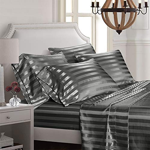AiMay 6 Piece Bed Sheet Set Deep Pocket Luxury Rich Silk Satin Silky Super Soft Solid Color Stripes Hypoallergenic Reversible Stain-Resistant Wrinkle Free (King, Grey)