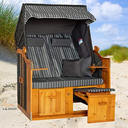 Strandkorb BALTIC-R AOC Ostsee Serie, anthrazit, grau-weiß Nadelstreifenbezug, mit Hülle, von LILIMO ®