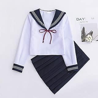 Women Classic Basic Sailor Nautical Dress JK Uniform Anime Cosplay Costumes Halloween Japanese School Uniform Top + Skirt + Cardigan Set