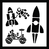 Auto Vynamics - STENCIL-SPACECUTE-10 - Cute Space Shuttle & Astronaut Stencil Set - Also Includes Rocket & Lunar Rover! - 10-by-10-inch Sheet - (1) Piece Kit - Single Sheet
