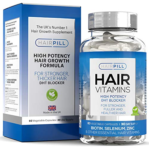 Hair Pill - UK's number 1 Hair Loss Solution, Natural DHT Blocker, Biotin, Hair Regrowth, High Potency, 5000 mcg, Hair Volume, Hair Growth Vitamins For Men, Hair Growth, Hair Loss Treatment for Man