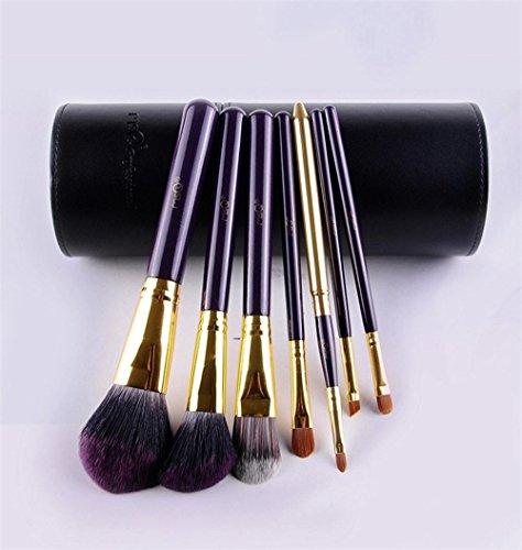 MSQ 7pcs pinceau de maquillage/poignée en plastique dégradé/bleu et violet couleur/fibre de cheveux brosse ensemble de maquillage, STT07B