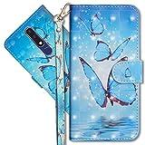 MRSTER Nokia 3.1 Plus Handytasche, Leder Schutzhülle Brieftasche Hülle Flip Hülle 3D Muster Cover mit Kartenfach Magnet Tasche Handyhüllen für Nokia 3.1 Plus 2018. YX 3D - Butterfly Spring