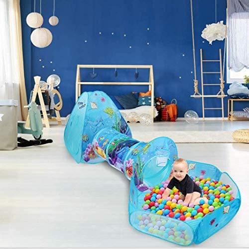 Speeltent voor kinderen met tunnel en ballenbak, Indoor/Outdoor Cubby Toddlers Baby Adventure Station, Ocean World Opvouwbare pop-up Gamehouse voor kinderen, Playhose
