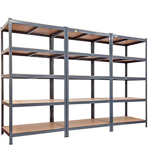 Xueliee Garage Shelving Unit-5 Tier Metal Heavy Duty Garage Storage Shelf -3 Pieces
