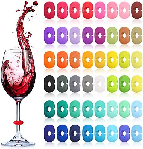 48 Pieces Wine Glass Charms Markers Silicone Drink Markers for Wine Glass Champagne Flutes Cocktails product image