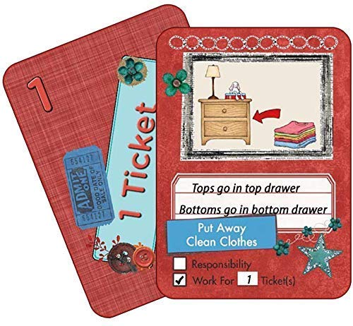 NEATLINGS Chore Cards Self-Care Deck ? 34 Self-Care Chores & 21 Ticket Cards ? Reward & Responsibility ? Red