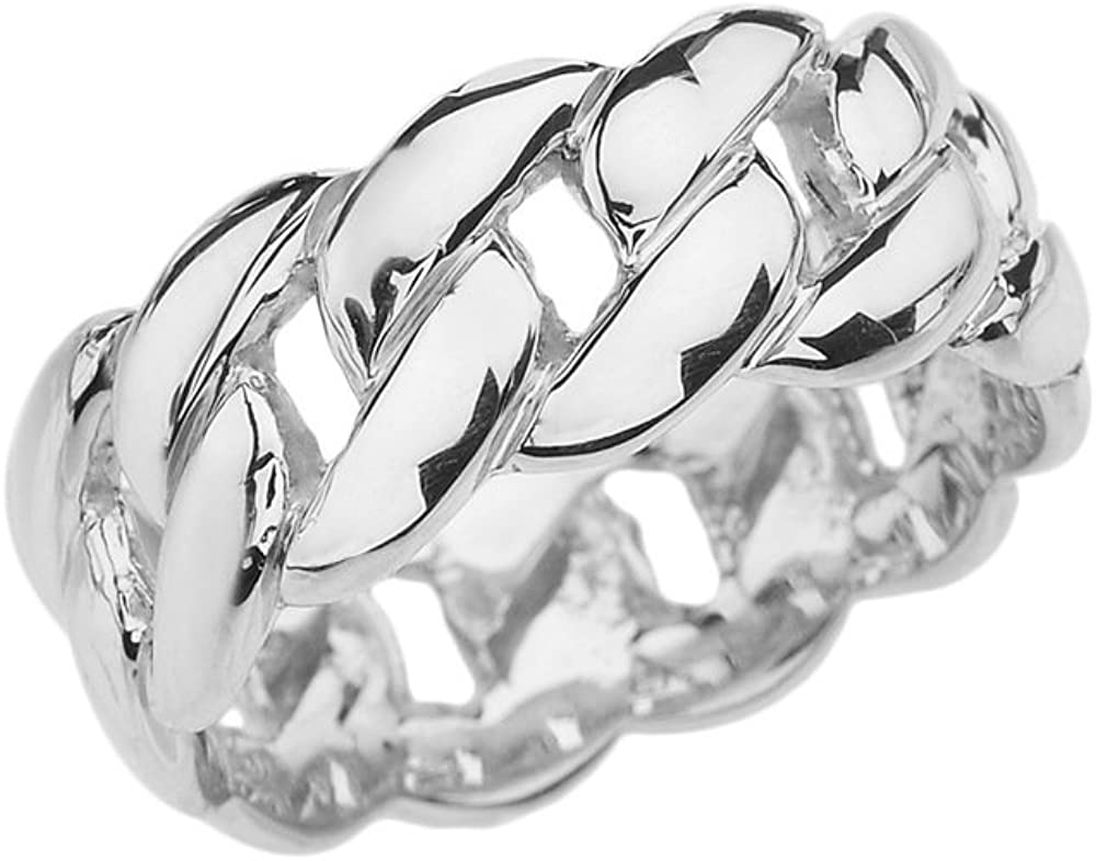 Modern Contemporary Rings Sterling Max 80% OFF Silver mm 8 Cuban Engage Link Super sale