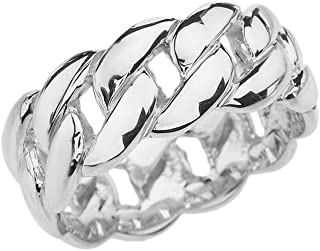 Modern Contemporary Rings Sterling Silver Cuban Link 8 mm Engagement Band