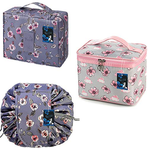 Lasinderm 3 Pcs Portable Cosmetic Bags Pouch Makeup Bags Travel Toiletry Organiser for Women and Girls Flowers1