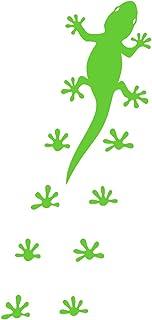 Samunshi® Gecko Fußabdrücken Aufkleber Gecko Sticker in 8 Größen und 25 Farben (7,1x15cm lindgrün)