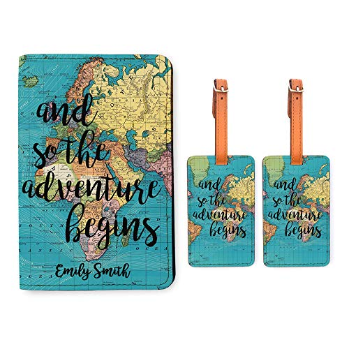 Personalized RFID Passport Holder 2 Luggage Tag Matching Set - World Map