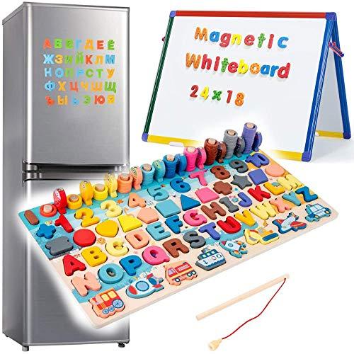 Zaaqio 6 en 1 Juegos Educativos Niños Año Magnéticos de Madera para Niños Puzzle de Madera Magnéticos para Niños en Edad Preescolar