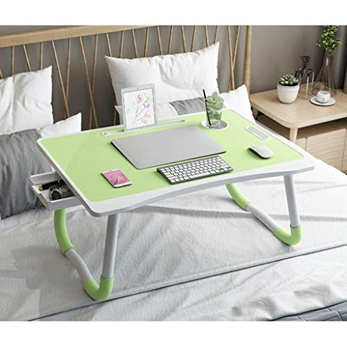 Laptop Bed Table Foldable Lap Desk Portable Notebook Stand with Cup Slot and Storage Drawer Breakfast Bed Tray Book Holder (Color : Green)