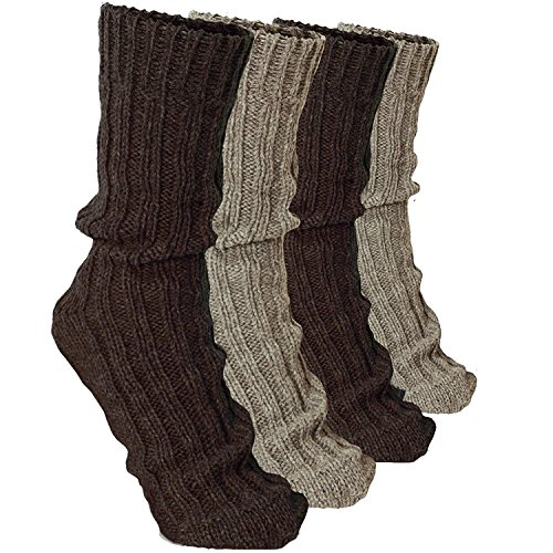 BRUBAKER 4 Pairs Thick Cashmere Socks - Browns Colors - Size EU 35-38 / US 3-6
